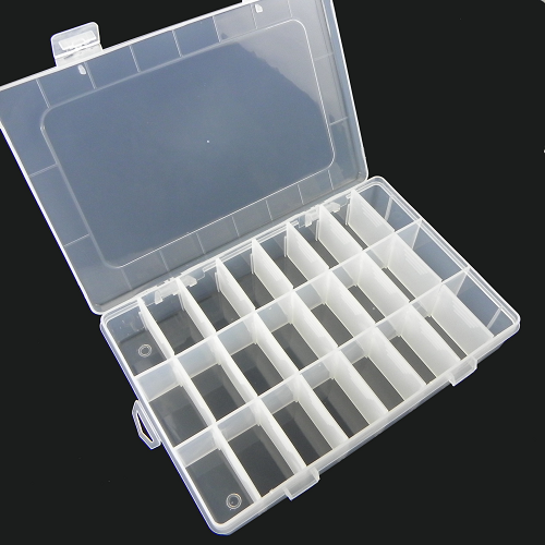 24 Grids Transparent Adjustable Slots Jewelry Bead Organizer Box Storage